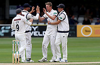 Steven Patterson of Yorkshire celebrates taking the wicket of Sir Alastair Cook during Essex CCC vs Yorkshire CCC, Specsavers County Championship Division 1 Cricket at The Cloudfm County Ground on 9th July 2019