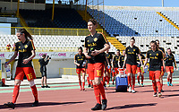 20180228 - LARNACA , CYPRUS :  Belgian Aline Zeler pictured during warming up of a women's soccer game between The Belgian Red Flames and the Czech Republic , on wednesday 28 February 2018 at GSZ Stadium in Larnaca , Cyprus . This is the first game in group B for Belgium during the Cyprus Womens Cup , a prestigious women soccer tournament as a preparation on the World Cup 2019 qualification duels. PHOTO SPORTPIX.BE | DAVID CATRY