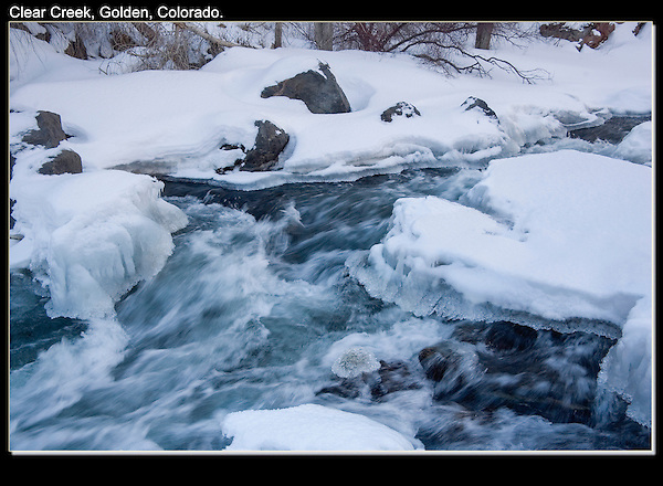 Assignment for Coors Brewery, Snow covered Clear Creek in Clear Creek Canyon, Golden, Colorado. .  John leads private photo tours in Boulder and throughout Colorado. Year-round Boulder photo tours.
