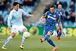 Getafe's Pablo Sarabia (r) and Celta de Vigo's Pablo Hernandez during La Liga match. February 27,2016. (ALTERPHOTOS/Acero)