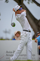 Won-Jun LEE (KOR) watches his tee shot on 12 during Rd 4 of the Asia-Pacific Amateur Championship, Sentosa Golf Club, Singapore. 10/7/2018.<br /> Picture: Golffile | Ken Murray<br /> <br /> <br /> All photo usage must carry mandatory copyright credit (© Golffile | Ken Murray)