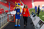 Doncaster Rovers Belles 1 Chelsea Ladies 4, 20/03/2016. Keepmoat Stadium, Womens FA Cup. The Doncaster mascot and helper. Photo by Paul Thompson.