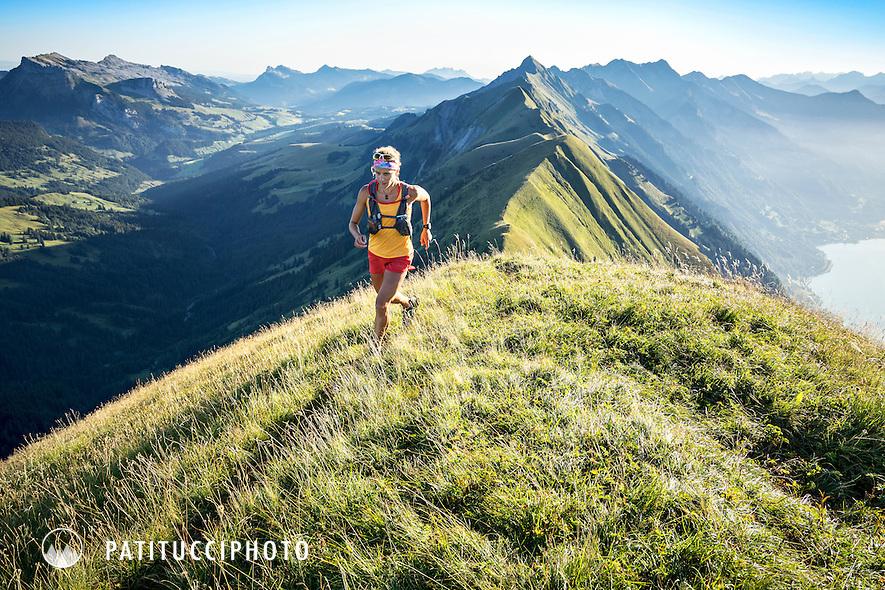 Krissy Moehl trail running the Hardergrat, a 25km ridge traverse from Interlaken to Brienz, Switzerland that always stays above the Brienzersee / Lake Brienz