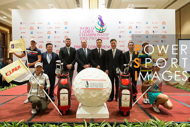 (left-right) Nicole Broch Larsen, Ko Jin Young (kneeling), JIaing Da Wei, Michael Wood, Iain Roberts, T.K. Pen, Zhang Xiao Ning, Xu JIain Ping, Liu Xi Yu, Shi Yuting (kneeling) pose for a photograph during the press conference at the beginning of World Ladies Championship 2016 on 09 March 2016 at Mission Hills Olazabal Golf Course in Dongguan, China. Photo by Victor Fraile / Power Sport Images