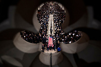 The flag-draped casket of former President George H.W. Bush is carried out by a military honor guard during a State Funeral at the National Cathedral, Wednesday, Dec. 5, 2018, in Washington. <br /> CAP/MPI/RS<br /> &copy;RS/MPI/Capital Pictures