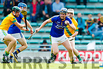 Sean Nolan Kilmoyley in action against Brendan Brosnan Lixnaw in the Kerry County Senior Hurling championship Final between Kilmoyley and Lixnaw at Austin Stack Park on Sunday.