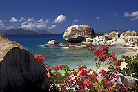 AJ2392, British Virgin Islands, Virgin Gorda, Caribbean, Virgin Islands, BVI, B.V.I., Picturesque coastline with bougainvillea flowers and granite boulders at The Crawl on the island of Virgin Gorda on the British Virgin Islands.