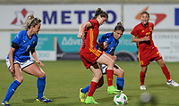 20180307 - LARNACA , CYPRUS : Italian Martina Rosucci (left) and Italian Elisa Bartoli (middle) pictured defending on Spanish Lucia Garcia Cordoba (middle) during a women's soccer game between Italy and Spain , on wednesday 7 March 2018 at the AEK Arena in Larnaca , Cyprus . This is the final game for the first place  for  Italy and  Spain on the Cyprus Womens Cup , a prestigious women soccer tournament as a preparation on the World Cup 2019 qualification duels. PHOTO SPORTPIX.BE | DAVID CATRY