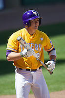 LSU Tigers first base Mason Katz #8 in action against the Auburn Tigers in the NCAA baseball game on March 24, 2013 at Alex Box Stadium in Baton Rouge, Louisiana. LSU defeated Auburn 5-1. (Andrew Woolley/Four Seam Images).