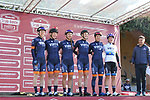 Team Virtu Cycling at sign on before the Strade Bianche Women Elite 2019 running 133km from Siena to Siena, held over the white gravel roads of Tuscany, Italy. 9th March 2019.<br /> Picture: Seamus Yore | Cyclefile<br /> <br /> <br /> All photos usage must carry mandatory copyright credit (© Cyclefile | Seamus Yore)