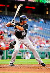 22 April 2010: Colorado Rockies' left fielder Ryan Spilborghs at bat during a game against the Washington Nationals at Nationals Park in Washington, DC. The Rockies shut out the Nationals 2-0 gaining a 2-2 series split. Mandatory Credit: Ed Wolfstein Photo