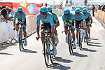 Astana Pro Team in action during Stage 1 of La Vuelta 2019, a team time trial running 13.4km from Salinas de Torrevieja to Torrevieja, Spain. 24th August 2019.<br /> Picture: Luis Angel Gomez/Photogomezsport | Cyclefile<br /> <br /> All photos usage must carry mandatory copyright credit (© Cyclefile | Luis Angel Gomez/Photogomezsport)