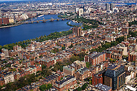 Massachusetts, Boston; Back Bay Brownstones, Longfellow Bridge & Charles River; View From Observation Deck Of Prudential Towe