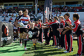 Declan O'Brien leads Tasesa Lavea & the Steelers out onto Growers Stadium. Air New Zealand Cup rugby game between the Counties Manukau Steelers & Manawatu Turbos, played at Growers Stadium Pukekohe on Staurday September 20th 2008..Counties Manukau won 27 - 14 after trailing 14 - 7 at halftime.