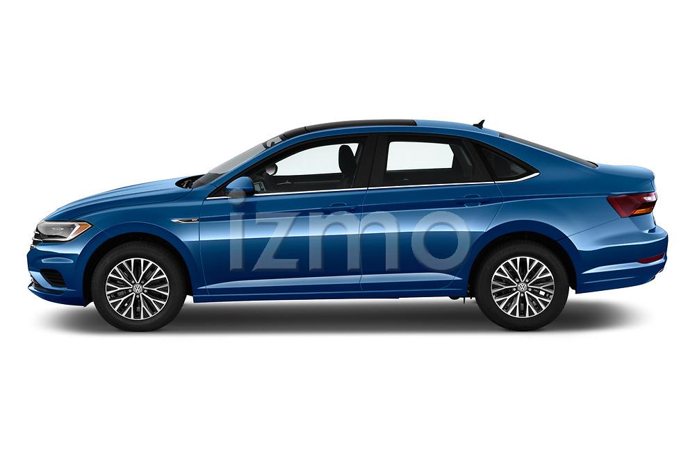 Car driver side profile view of a 2019 Volkswagen Jetta SEL 4 Door Sedan