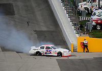 Feb 9, 2008; Daytona, FL, USA; ARCA RE/MAX Series driver Ryan Fischer (25) crashes during the ARCA 200 at Daytona International Speedway. Mandatory Credit: Mark J. Rebilas-US PRESSWIRE