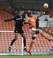 Barnsley's Ethan Pinnock battles with Blackpool's Armand Gnanduillet<br /> <br /> Photographer Rich Linley/CameraSport<br /> <br /> The EFL Sky Bet League One - Blackpool v Barnsley - Saturday 22nd December 2018 - Bloomfield Road - Blackpool<br /> <br /> World Copyright &copy; 2018 CameraSport. All rights reserved. 43 Linden Ave. Countesthorpe. Leicester. England. LE8 5PG - Tel: +44 (0) 116 277 4147 - admin@camerasport.com - www.camerasport.com