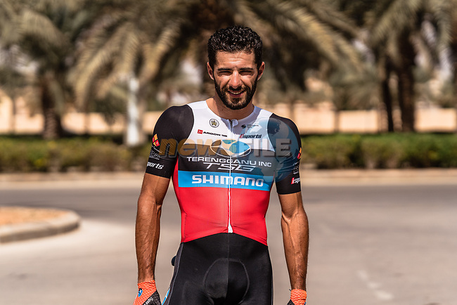 Youcef Reguigui (ALG) Terengganu Inc. TSG Cycling Team before the start of Stage 5 of the Saudi Tour 2020 running 144km from Princess Nourah University to Al Masmak, Saudi Arabia. 8th February 2020. <br /> Picture: ASO/Kåre Dehlie Thorstad | Cyclefile<br /> All photos usage must carry mandatory copyright credit (© Cyclefile | ASO/Kåre Dehlie Thorstad)