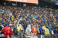FOXBOROUGH, MA - OCTOBER 27: Fans in a rainy game during a game between Cleveland Browns and New Enlgand Patriots at Gillettes on October 27, 2019 in Foxborough, Massachusetts.