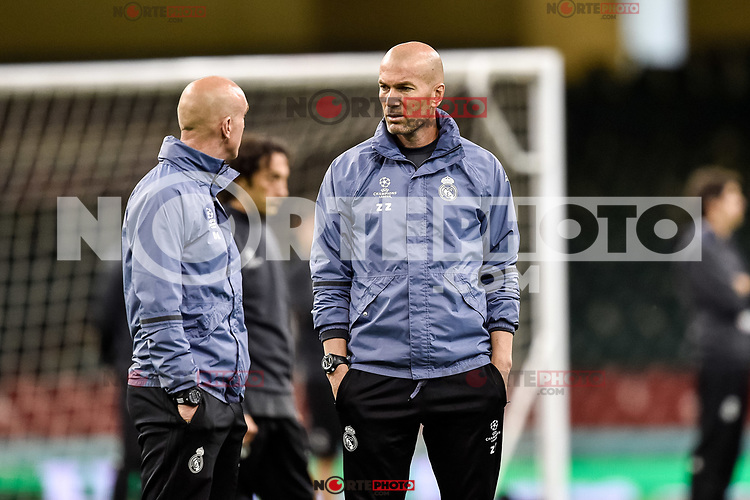 Zinedine Zidane of Real Madrid during the training session ahead the UEFA Champions League Final between Real Madrid and Juventus at the National Stadium of Wales, Cardiff, Wales on 2 June 2017. Photo by Giuseppe Maffia.<br /> Giuseppe Maffia/UK Sports Pics Ltd/Alterphotos /NortePhoto.com