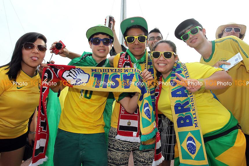 Brazilian fans are seen outside the stadium before kick-off - Brazil vs Egypt - Mens Olympic Football Tournament London 2012 Group E at the Millenium Stadium, Cardiff, Wales - 26/07/12 - MANDATORY CREDIT: Gavin Ellis/SHEKICKS/TGSPHOTO - Self billing applies where appropriate - 0845 094 6026 - contact@tgsphoto.co.uk - NO UNPAID USE.