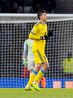 19th November 2019; Hampden Park, Glasgow, Scotland; European Championships 2020 Qualifier, Scotland versus Kazakhstan; Baktiyar Zaynutdinov of Kazakhstan celebrates after scoring the opening goal in the 34th minute - Editorial Use