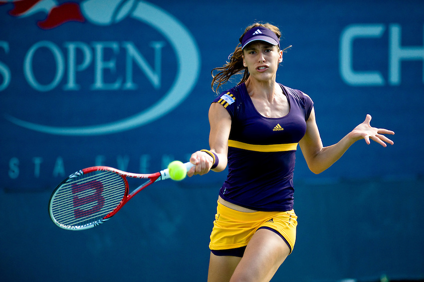 FLUSHING MEADOWS, NY - AUGUST 27:  Andrea Petkovic (GER) competes in a first round match of the US Open on August 27, 2012 at the USTA Billie Jean King National Tennis Center in New York. The US Open is the highest-attended annual sporting event in the world.