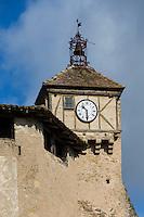 France, Midi-Pyrénées, Tarn (81), Penne:  Clocher de l'église  // France, Midi Pyrenees, Tarn,  Penne : Church steeple