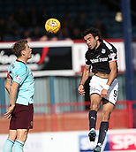 30th September 2017, Dens Park, Dundee, Scotland; Scottish Premier League football, Dundee versus Hearts; Dundee's Sofien Moussa and Hearts' Christophe Berra competes in the air