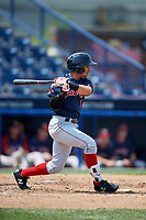 Portland Sea Dogs shortstop Jeremy Rivera (16) follows through on a swing during the second game of a doubleheader against the Reading Fightin Phils on May 15, 2018 at FirstEnergy Stadium in Reading, Pennsylvania.  Reading defeated Portland 9-8.  (Mike Janes/Four Seam Images)