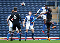 Blackburn Rovers Tyler Magloire in action during todays match<br /> <br /> Photographer Rachel Holborn/CameraSport<br /> <br /> U23 Premier League 2 - Blackburn Rovers U23 v Aston Villa U23 - Monday 16th April 2018 - Ewood Park - Blackburn<br />  <br /> World Copyright &copy; 2018 CameraSport. All rights reserved. 43 Linden Ave. Countesthorpe. Leicester. England. LE8 5PG - Tel: +44 (0) 116 277 4147 - admin@camerasport.com - www.camerasport.com