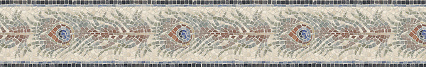 "6 1/2"" Plume border, a hand-cut mosaic shown in tumbled Travertine White, Giallo Reale, Blue Macauba, Lapis, Verde Luna, Salmon Moss, Rosa Bordeaux, Aegean Brown, Travertine Noce, Rosa Verone, and Nero Marquina by New Ravenna."