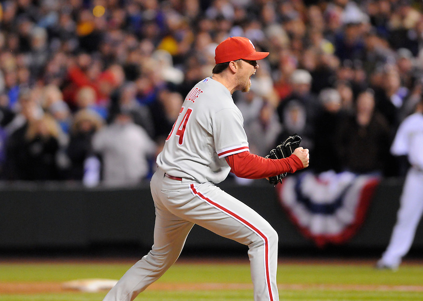 12 October 2009: Phillies closer and relief pitcher Brad Lidge celebrates after throwing the final pitch of the game striking out Rockies shortstop Troy Tulowitzki during a National League Division Series game between the Philadelphia Phillies and the Colorado Rockies at Coors Field in Denver, Colorado. The Phillies beat the Rockies 5-4 and won the series 3-1. *****For editorial use only*****