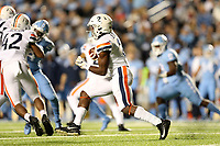 CHAPEL HILL, NC - NOVEMBER 02: Joe Reed #2 of the University of Virginia runs the ball during a game between University of Virginia and University of North Carolina at Kenan Memorial Stadium on November 02, 2019 in Chapel Hill, North Carolina.