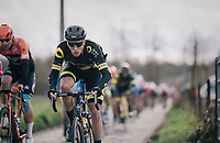 Niki Terpstra (NED/Direct Energie) flying over the cobbles<br /> <br /> 51th Le Samyn 2019 <br /> Quaregnon to Dour (BEL): 200km<br /> <br /> ©kramon