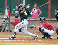 Infielder Daurys Mercedes (18) of the Bristol White Sox, Appalachian League affiliate of the Chicago White Sox, in a game against the Elizabethton Twins on August 18, 2011, at Joe O'Brien Field in Elizabethton, Tennessee. Elizabethton defeated Bristol, 13-3. (Tom Priddy/Four Seam Images)