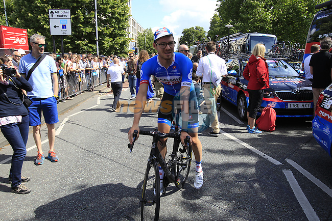 Alex Howes (USA) Garmin-Sharp heads to sign on in Cambridge before the start of Stage 3 of the 2014 Tour de France running 155km from Cambridge to London. 7th July 2014.<br /> Picture: Eoin Clarke www.newsfile.ie