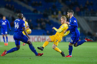 Daryl Horgan of Preston North End sees his shot blocked by Sol Bamba of Cardiff City during the Sky Bet Championship match between Cardiff City and Preston North End at the Cardiff City Stadium, Cardiff, Wales on 29 December 2017. Photo by Mark  Hawkins / PRiME Media Images.