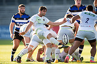 Henry Taylor of Saracens Storm box-kicks the ball. Aviva A-League match, between Bath United and Saracens Storm on September 1, 2017 at the Recreation Ground in Bath, England. Photo by: Patrick Khachfe / Onside Images