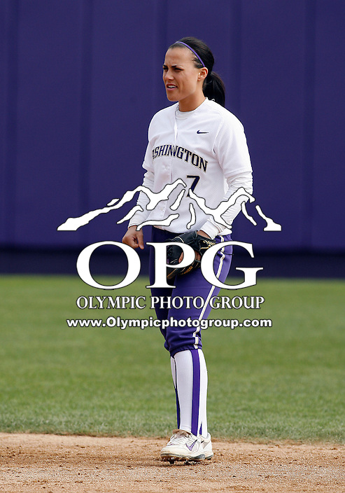 14 March 2010:  Washington Huskies shortstop #7 Jenn Salling sets up ion defnese against Seattle University. Washington defeated Seattle University 8-3 at Husky Softball Stadium in Seattle, WA.