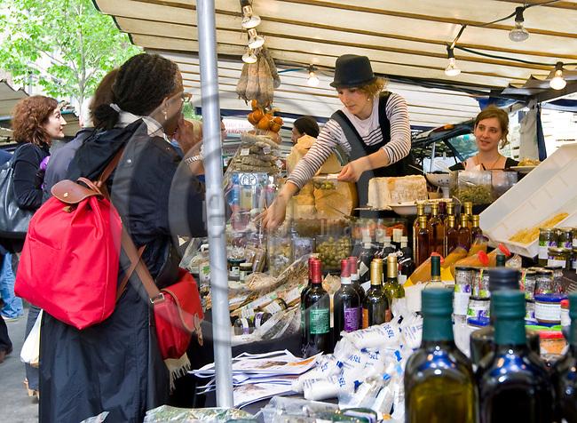 PARIS - FRANCE - 08 MAY 2011 -- Paris travel city photos. -- The biggest organic food market of France, Boulevard Raspail. -- PHOTO: Juha ROININEN / EUP-IMAGES