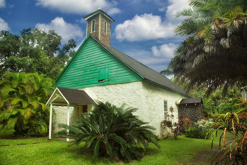 Palapala Hoomau Congregational Church at the Charles Lindbergh grave site. Maui, Hawaii