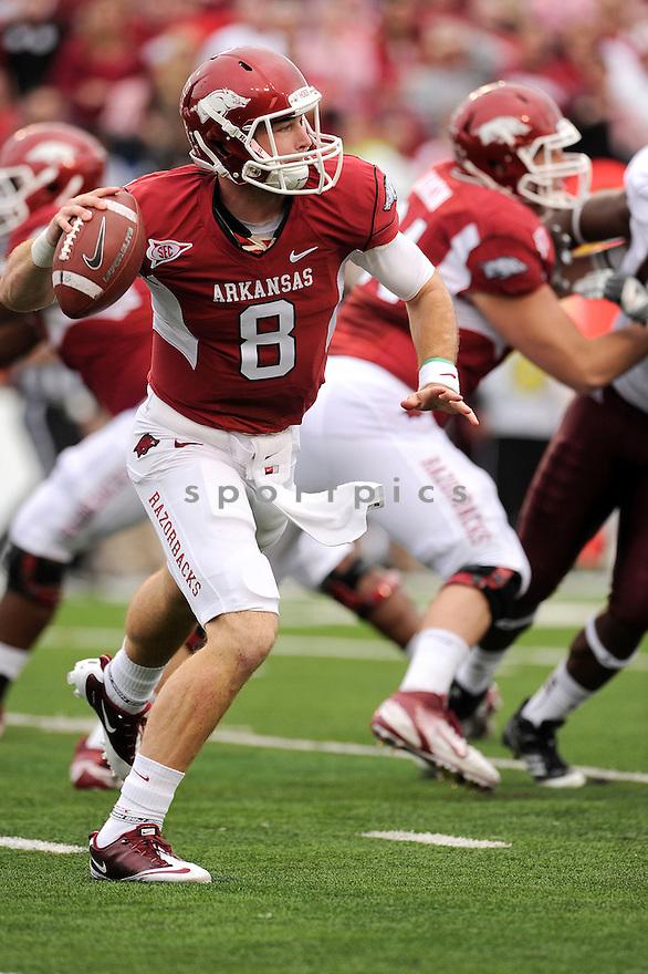 Arkansas Razorbacks Tyler Wilson (8) in action during a game against Alabama on September 25, 2010 at Razorback Stadium in Fayetteville, AR. Alabama beat Arkansas 24-20.
