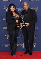 09 September 2018 - Los Angeles, California - Rikki Hughes, Stan Lathan. 2018 Creative Arts Emmy Awards - Press Room held at Microsoft Theater. <br /> CAP/ADM/BT<br /> &copy;BT/ADM/Capital Pictures