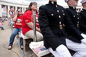 Arlington, VA - May 25, 2009 -- Marines and civilians watch as United States President Barack Obama speaks during Memorial Day Ceremonies at Arlington National Cemetery in Arlington, VA, U.S.,  Monday, May 25, 2009.  .Credit: Joshua Roberts - Pool via CNP