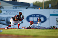Batavia Muckdogs second baseman Giovanny Alfonzo (8) waits for a throw as Edwin Lora (1) slides in during a game against the Auburn Doubledays July 10, 2015 at Dwyer Stadium in Batavia, New York.  Auburn defeated Batavia 13-1.  (Mike Janes/Four Seam Images)