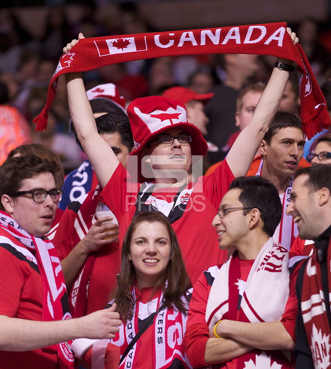Canada fans cheer their team before play against Mexico in the CONCACAF Olympic Qualifying semifinal match at BC Place in Vancouver, B.C., Canada Friday Jan. 27, 2012. Canada won the match 3-1 to earn a berth in 2012 London Olympics.
