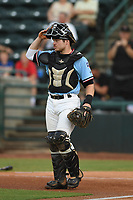 Matt Whatley (19) of the Hickory Crawdads checks the field during game one of the Northern Division, South Atlantic League Playoffs against the Delmarva Shorebirds at L.P. Frans Stadium on September 4, 2019 in Hickory, North Carolina. The Crawdads defeated the Shorebirds 4-3 to take a 1-0 lead in the series. (Tracy Proffitt/Four Seam Images)