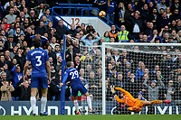 Alvaro Morata of Chelsea blasts the ball high and wide of the Fulham goal during Chelsea vs Fulham, Premier League Football at Stamford Bridge on 2nd December 2018