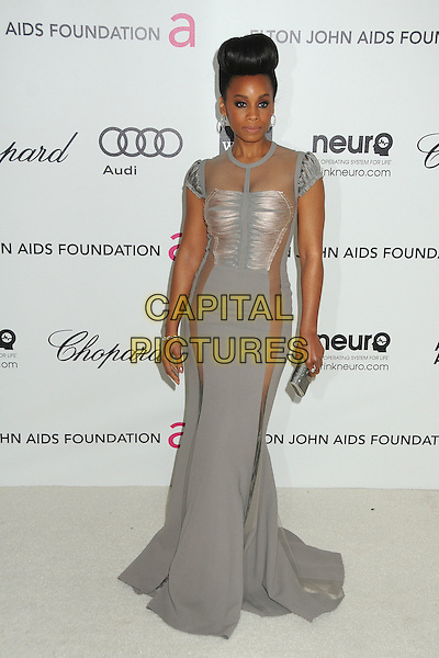 Anika Noni Rose.20th Annual Elton John Academy Awards Viewing Party held at West Hollywood Park, West Hollywood, California, USA..February 26th, 2012.oscars full length dress grey gray sheer panels.CAP/ADM/BP.©Byron Purvis/AdMedia/Capital Pictures.
